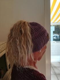 Zopflochmütze handgestrickt - die andere Mütze für lange Haare