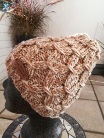 Beanie Mütze handgestrickt braun/beige meliert by made with love