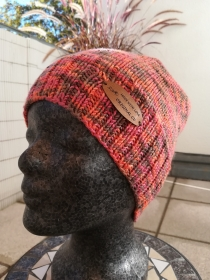 Beanie Mütze handgestrickt orange bunt handgestrickt by made with love