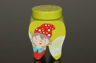 Zahndose mit Korkstopfen aus Buchenholz handbemalt Motiv Zahnfee