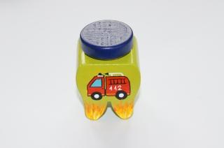 Zahndose mit Korkstopfen aus Buchenholz handbemalt Motiv Feuerwehr