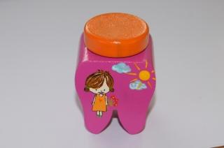 Zahndose mit Korkstopfen aus Buchenholz handbemalt Motiv Mädchen