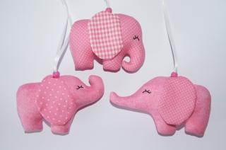 Mobileanhänger Elefant aus Stoff genäht 3er Set rosa