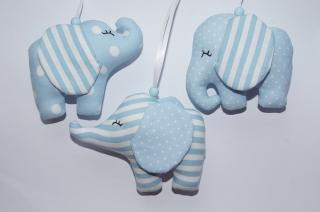 Mobileanhänger  Elefant aus Stoff genäht 3er Set hellblau