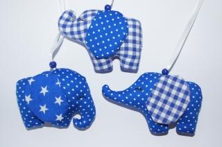 Mobileanhänger  Elefant aus Stoff genäht 3er Set Mittelblau
