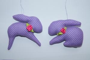 Osterhase Osteranhänger aus Baumwollstoff genäht 2 Stück lila