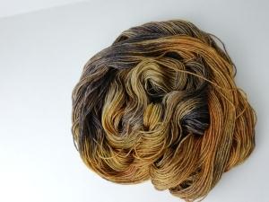 handgefärbte Wolle   glänzend   tigerauge Variante 1   Prinzenwolle