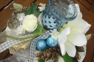 ☆ Schöne Tischdeko auf Holzscheibe mit Magnolienblüte ☆