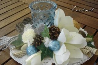 ☆ Tischdekoration in blau-weiß mit Teelichthalter und Magnolie ☆ Weihnachten