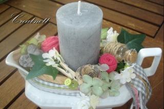 ♡ Romantisches Kerzengesteck in Porzellan-Souciere ♡