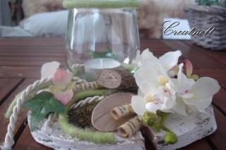 ♡ Schöne Tischdekoration mit Windlicht auf Holzscheibe ♡