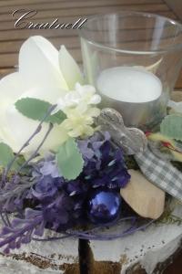 ♥ Tischdekoration in blau-weiß Holzscheibe mit Windlicht ♥