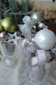 ☆ Schöne Weihnachtsdekoration in Eisbecher mit Glaskugel ☆