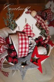 ☆ Weihnachtsdeko in Porzellantasse mit Holztanne und Deko ☆