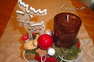 ☆ Holzstück mit Kerze und Dekofigur aus Holz ☆
