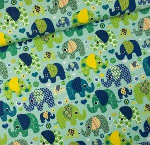 0,5 Meter Jersey  Elefantenparade grün
