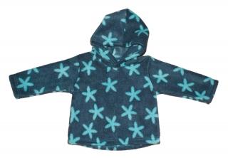 Babyhoodie Gr. 62/68 kuschelig aus Fleece dunkel- und helltürkis