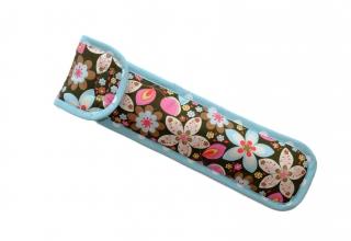 Flötentasche gepolstert Musiktasche  Blumenmuster Punkte