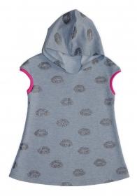 Tunika mit Kapuze Gr. 110/116 Sweat hellgrau mit Glitzer-Lippen - Handarbeit kaufen