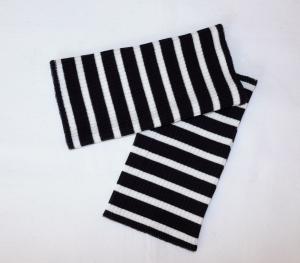Armstulpen Pulswärmer Jersey schwarz-weiß mit Streifen