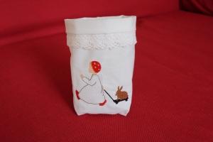 Bestickter Lichtbeutel mit feiner Spitze Windlicht Dekoration - Handarbeit kaufen