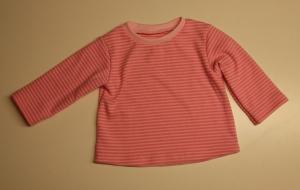 Babypullover Gr. 62/68 rosa Streifen leicht angerauht - Handarbeit kaufen