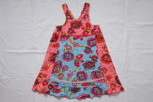 Kleid Trägerkleid Vida Gr. 110/116 Feincord hellblau rosa Mustermix