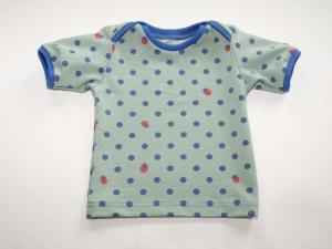 Baby Shirt Gr. 62/68 mit blauen Punkten und Marienkäfer - Handarbeit kaufen