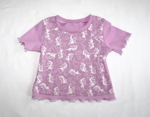 Baby-Shirt Kurzarm in flieder mit weißen Feen Gr. 86/92 - Handarbeit kaufen