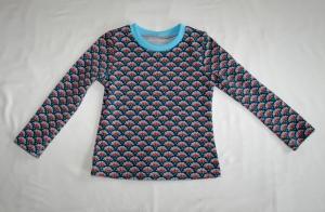 Langarmshirt für Mädchen Gr. 110/116 petrol Fächermuster