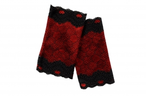 Armstulpen elastische Spitze schwarz-rot der Hingucker