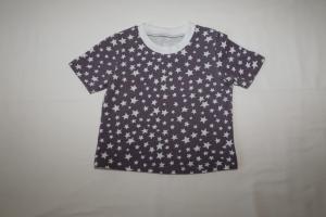 T-Shirt Kurzarm Gr. 86/92  grau mit weißen Sternen - Handarbeit kaufen