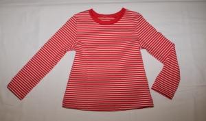 Langarmshirt Gr. 110/116 rot- weiß gestreift Jersey - Handarbeit kaufen