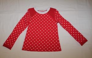 Langarmshirt in Gr. 122/128 rot mit kleinen weißen Punkten Jersey Mädchen - Handarbeit kaufen