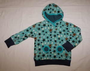 Fleece-Hoodie Gr. 110/116 türkis Sterne mit Bauchtasche