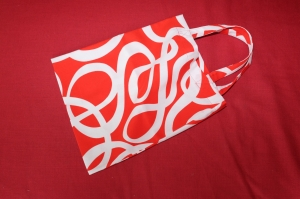 Stoffbeutel Stofftasche rot-weiß im Retro-Stil - Handarbeit kaufen