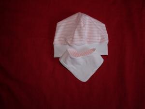 Beanie Mütze und Halstuch zum Wenden aus Jersey weiß rose - Handarbeit kaufen
