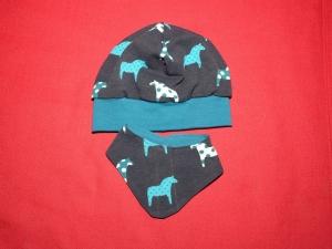 Beanie Mütze mit Wendehalstuch in marine mit Pferden - Handarbeit kaufen
