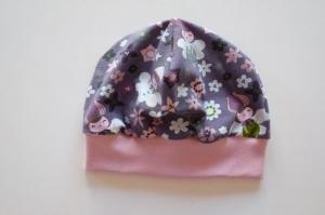 Beanie Mütze aus Jersey in grau-rosa mit Blütenelfen - Handarbeit kaufen