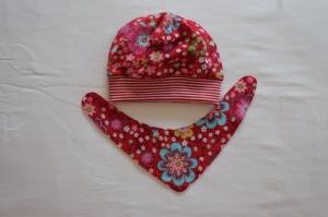 Beanie und Wendehalstuch Jesey rot-rosa Blumenmuster - Handarbeit kaufen