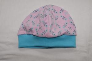 Beanie Mütze aus Jersey in rosa-türkis Babymütze - Handarbeit kaufen