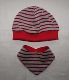 Beanie Mütze und Halstuch zum Wenden aus Jersey hellgrau mit roten Streifen - Handarbeit kaufen