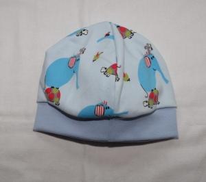 Babymütze Beanie aus Jersey hellblau mit Elefanten  - Handarbeit kaufen