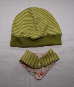 Beanie Mütze und Halstuch zum Wenden aus Jersey lemon-grün