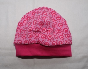 Beanie Babymütze Jersey in pink Punkte Kringel