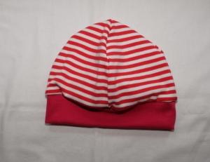 Beanie Babymütze weicher Jersey rot-weiß gestreift