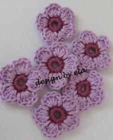 ★ 5 Häkelblumen zweifarbig, ca. 3,5 cm ★ - Handarbeit kaufen