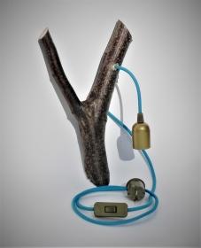 Ast Lampe Holz Holzlampe Wandlampe Baum Textilkabel Unikat