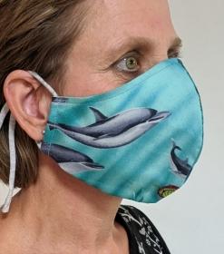 Mund- und Nasenschutz, Behelfsmasken, Masken aus Baumwolle, Schutzmasken genäht, Delfin, Fisch, Meer (Kopie id: 100230050) (Kopie id: 100230053) (Kopie id: 100231472)