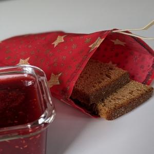 Lunchbag Brotbeutel Vegan Wachstuch Plastikfrei einpacken Aufbewahrung Geschenk Weihnachten Nicolaus Adventskalender  Sterne Schneeflocken rot gold - Handarbeit kaufen